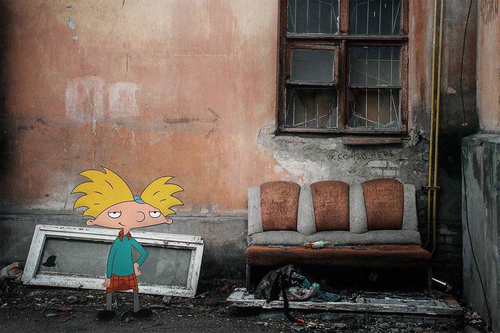 Застрял в реальном мире: персонажи из мультфильмов и кино, помещенные в реальные фотографии (часть 6)
