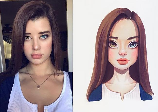 Русский художник превращает знаменитостей в прелестные мультяшные персонажи