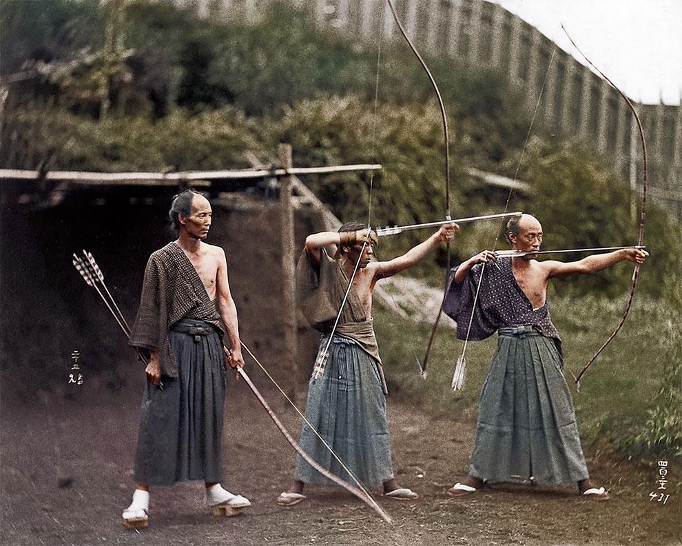 Самураи на тренировке 1860 г.
