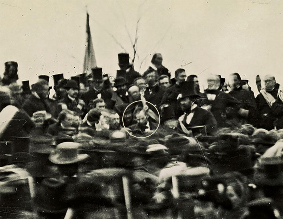 Единственная известная фотография Авраама Линкольна в Геттисберге, прежде, чем он произнес свою Геттисбергскую речь, 19 ноября 1863 г.