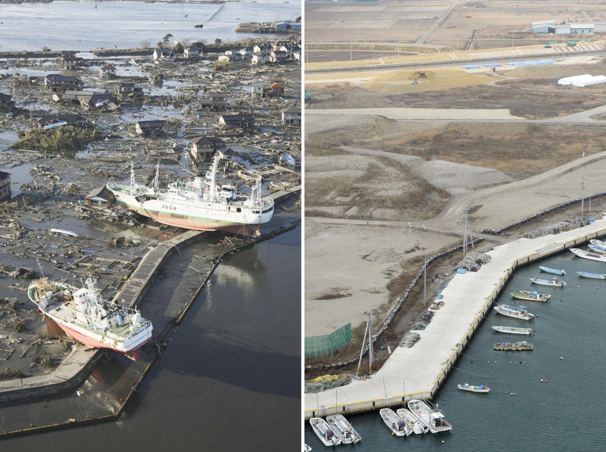 Поразительные снимки, запечатлевшие последствия разрушительного землетрясения и цунами в Японии в 2011 году
