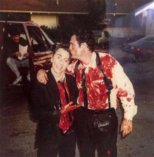 "Тим Рот и Майкл Мэдсен на съемках фильма ""Бешеные псы"":"