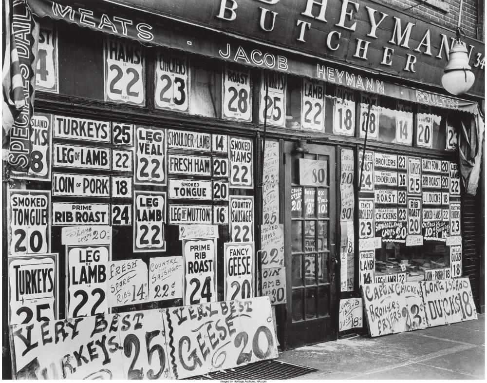 Мясной магазин Якова Хеймана, Шестая авеню, 345, 1938 год.