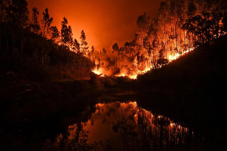 Лесной пожар в центральной Португалии, 18 июня, 2017.