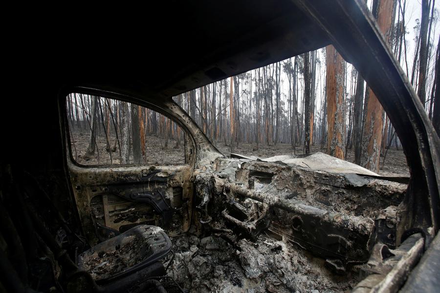 Сгоревший фургон и сожженные деревья после лесного пожара, 19 июня, 2017.