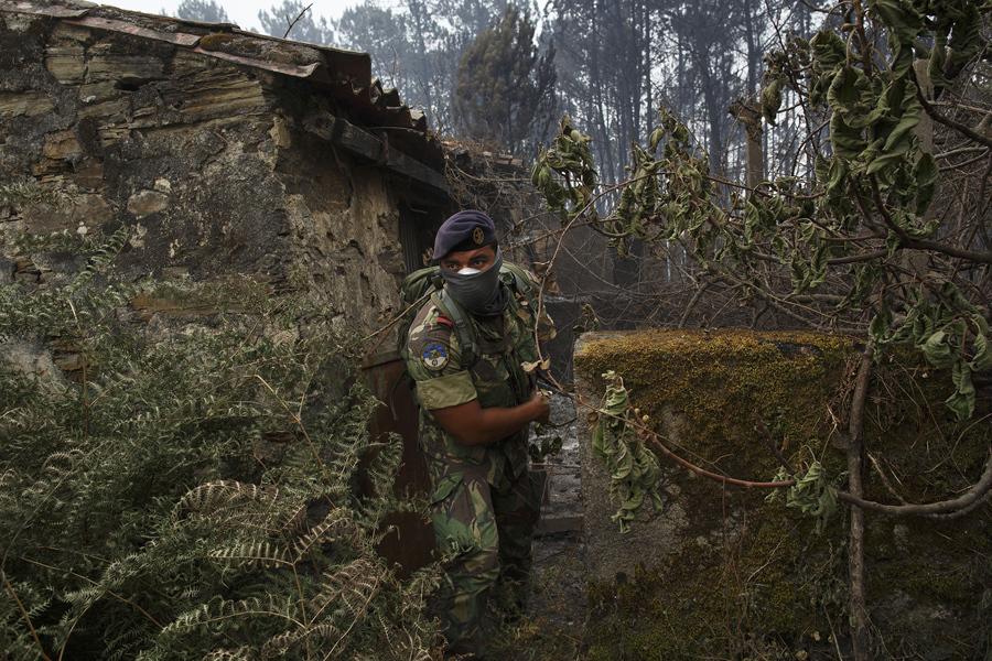 Португальский солдат проверяет местность на наличие выживших людей, 19 июня 2017.