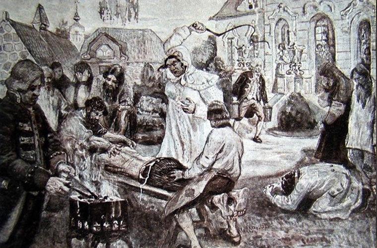 Иллюстрация работы Курдюмова к энциклопедическому изданию «Великая реформа», на которой изображены истязания Салтычихи «по возможности в мягких тонах»