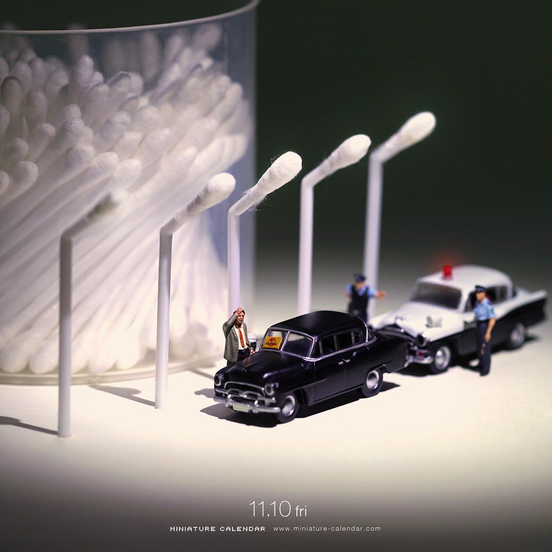 Миниатюрный календарь в фотопроекте Тацуя Танака