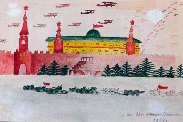 Красная площадь. Вальтер Сонечкин, 9 лет, Харьков. 1937 год.