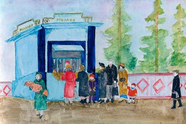Очередь за молоком. И. Логвинова, 13 лет. 1936 год.