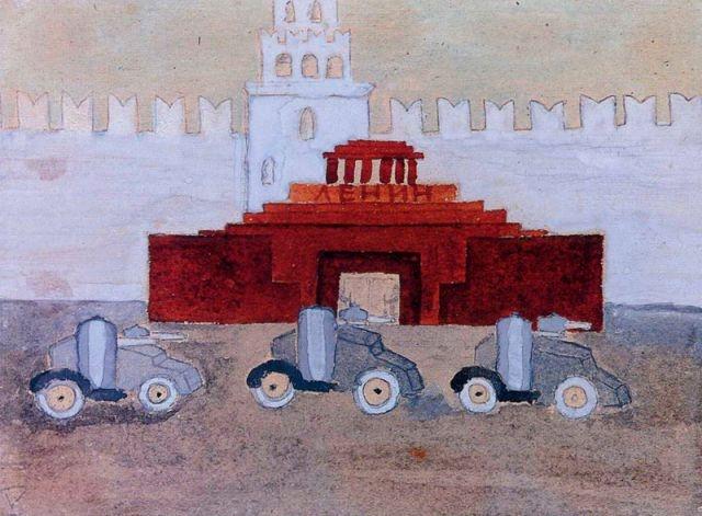 Танки на Красной площади. Неизвестный автор, 9 лет, 1934.
