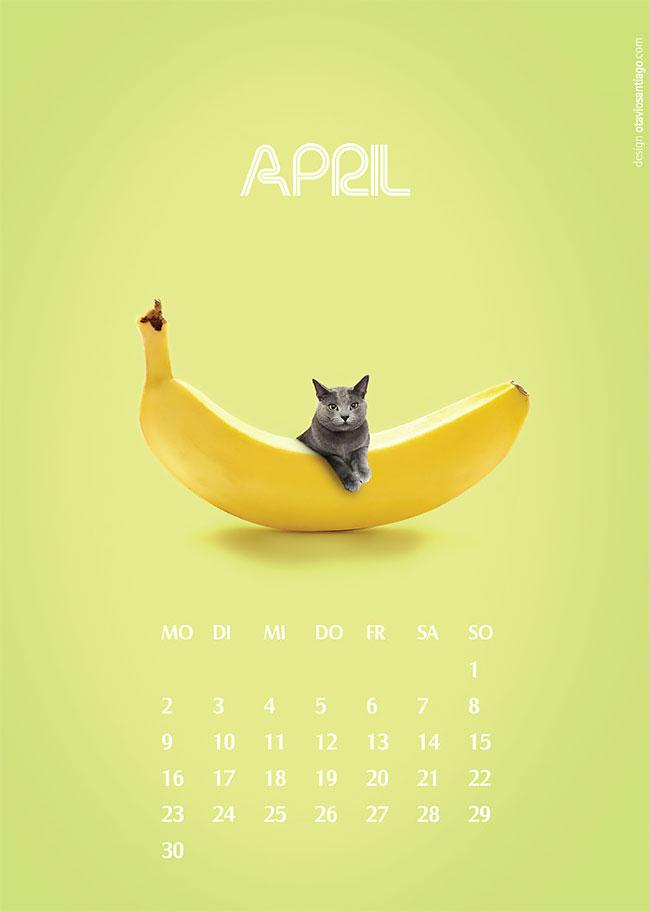"""Календарь """"Две кошки"""" на 2018-й год от Отавио Сантьяго"""