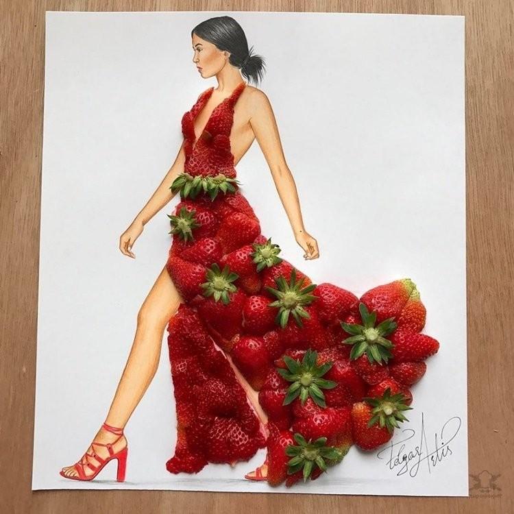 Эскизы платьев из еды и предметов