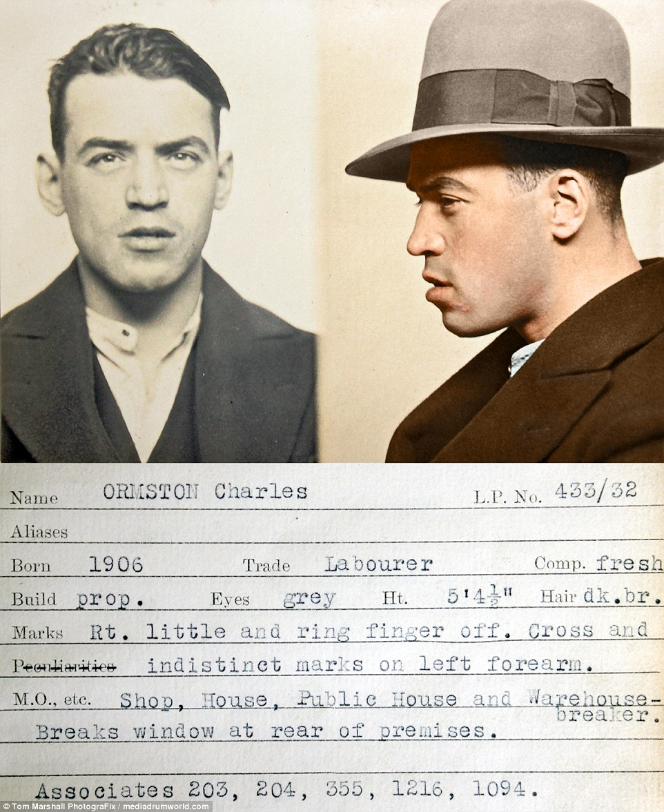 Раскрашенные фотоснимки преступников Англии 1930-х годов