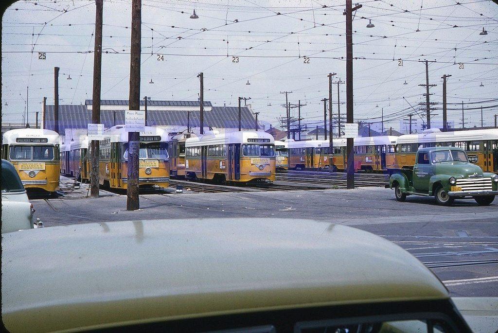 Трамвайное депо в Лос-Анджелесе, 1956 год