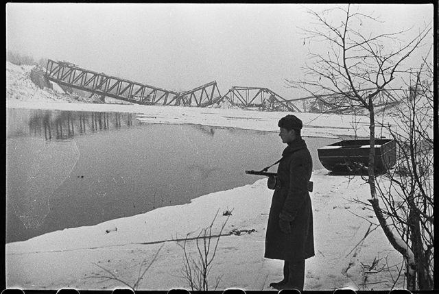 Железнодорожный мост через реку Лугу, взорванный немцами при отступлении. Ленинградский фронт, 1943 год: