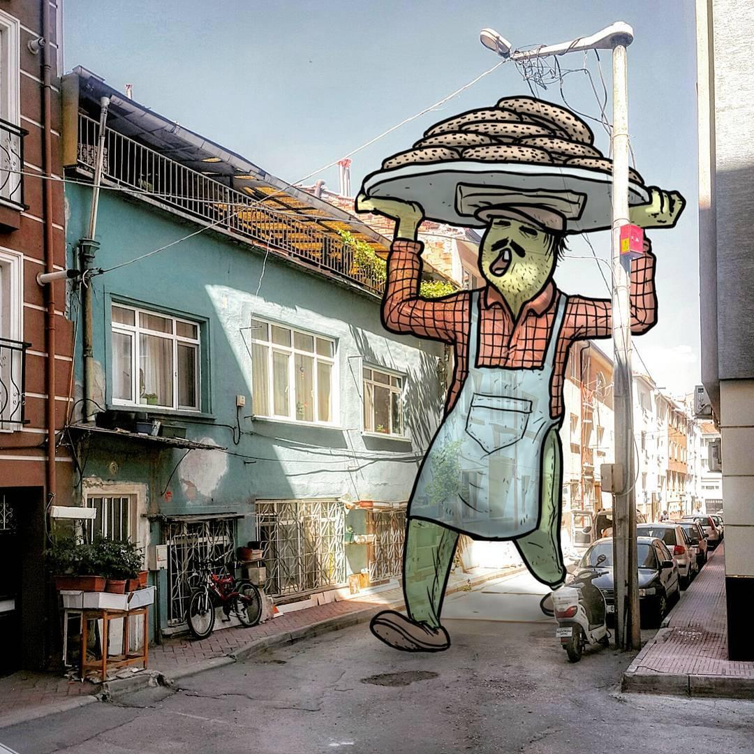 Иллюстрации: тайная жизнь гигантов на улицах турецких городов