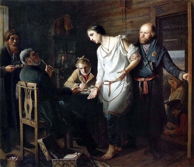 Приезд станового на следствие. 1857