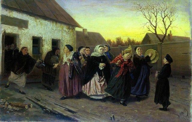 Накануне девичника. Проводы невесты из бани, 1870