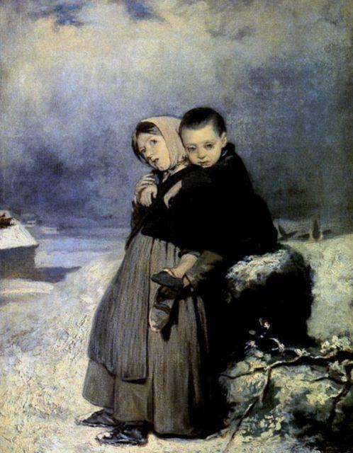 """""""Дети-сироты на кладбище"""", 1864"""