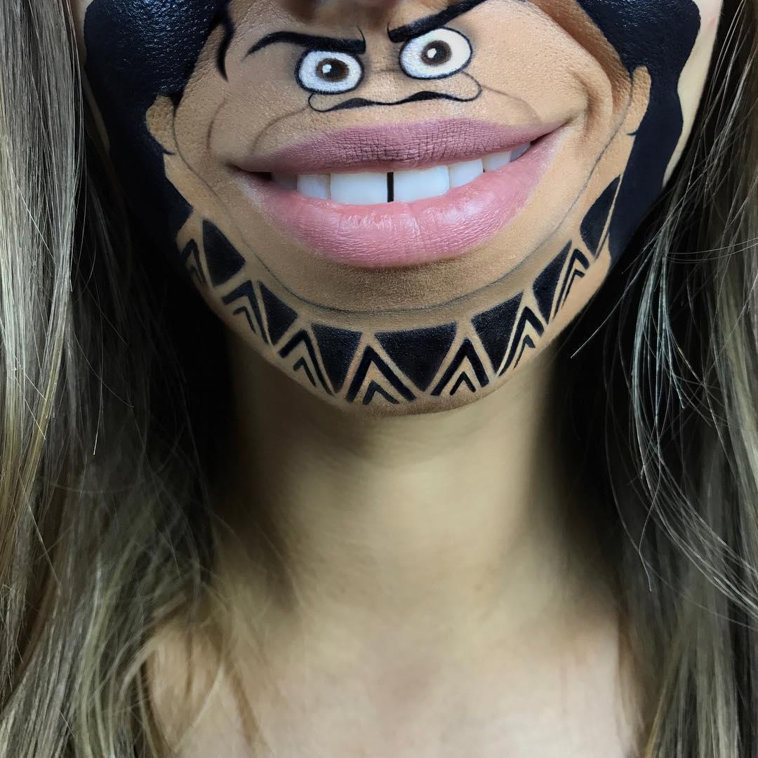 Визажист превращает свои губы в милые персонажи