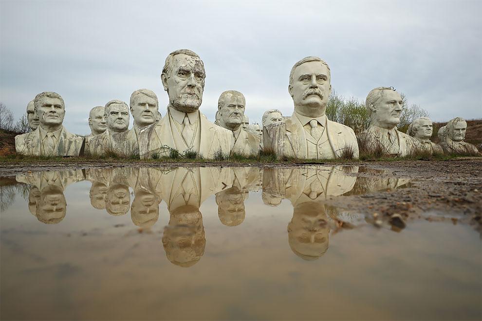 Обшарпанные бюсты президентов США в Вирджинии