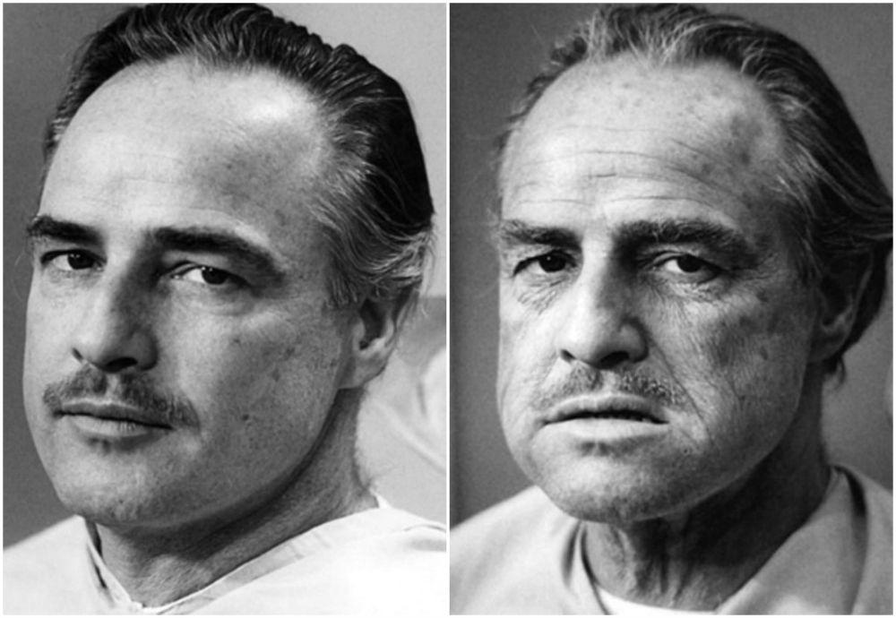 "Марлон Брандо до и после нанесения грима Дона Вито Корлеоне в ""Крестном отце"" (1972)"