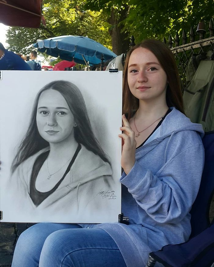 Потрясающие уличные портреты от Николая Ярахтина, нарисованные от руки на улицах Санкт-Петербурга