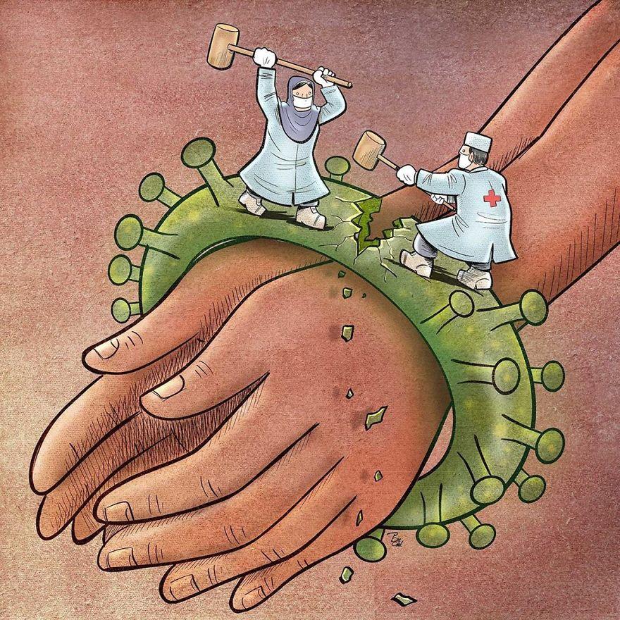 Иранский художник показывает суровую реальность врачей во время вспышки коронавируса